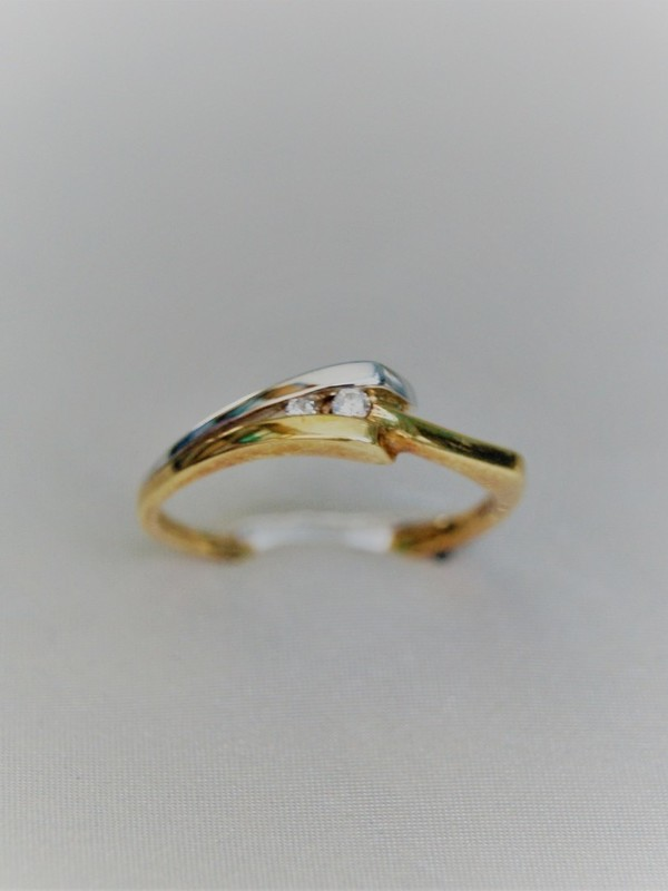 Gouden toi et moi ring met spangezette zirconia