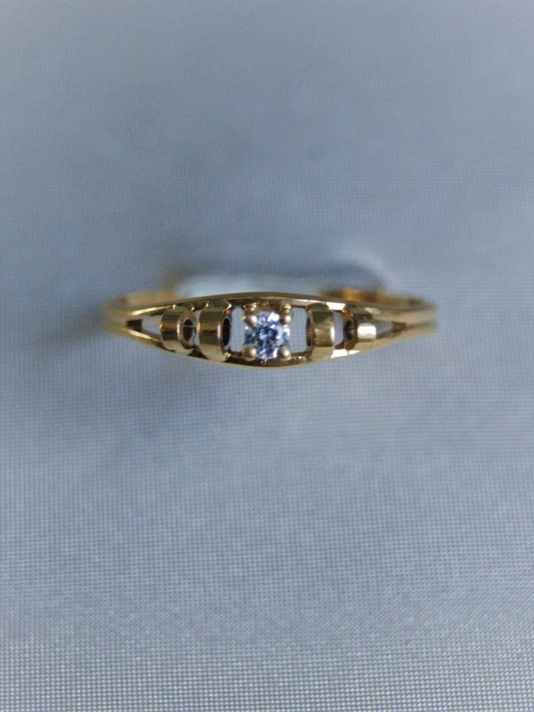 Gouden ring met zirconia en saffier