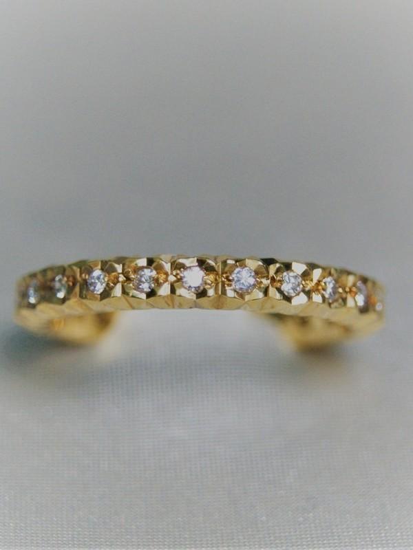 Gouden memoire ring met zirconia