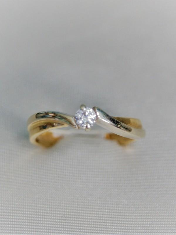 Gouden toi et moi ring met klauwgezette zirconium