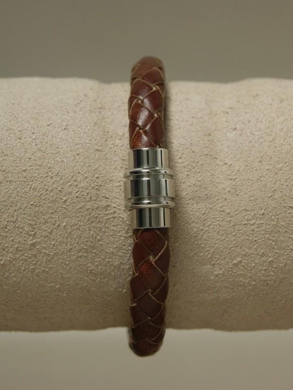Donker bruine leren armband