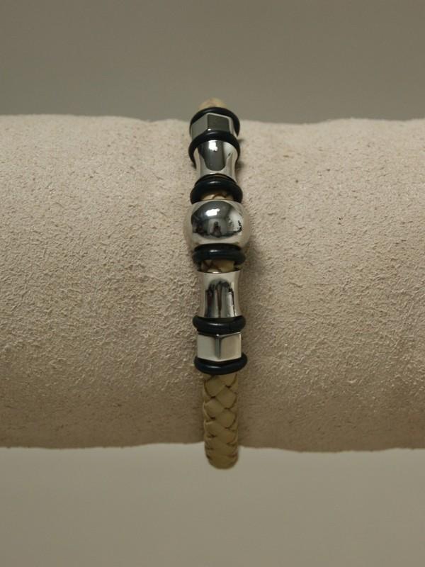 Licht bruine leren armband