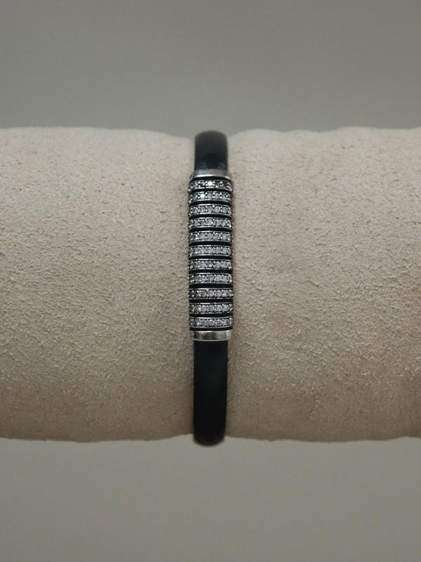 Zwarte leren armband met zirconia