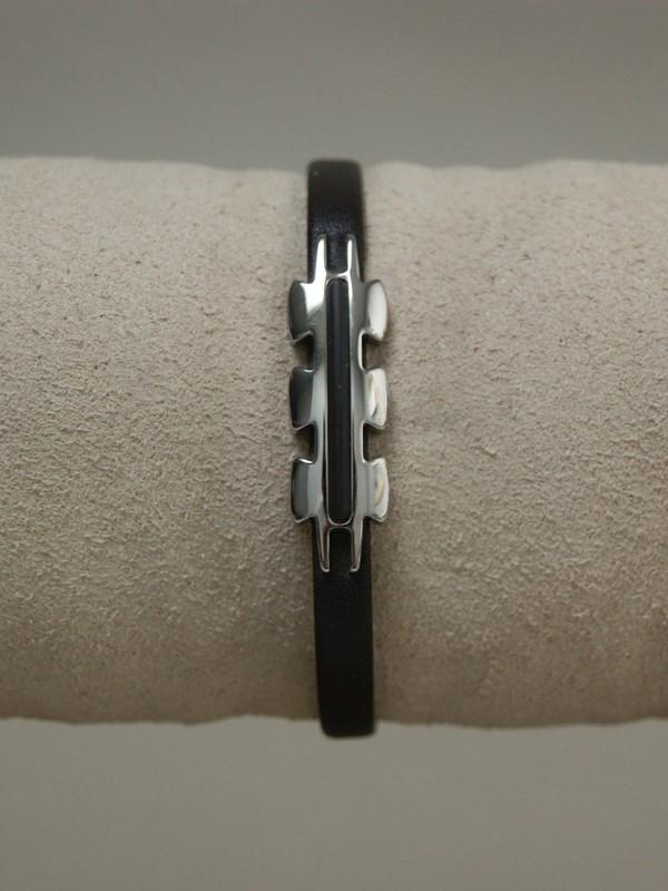 Dunne bruine leren armband