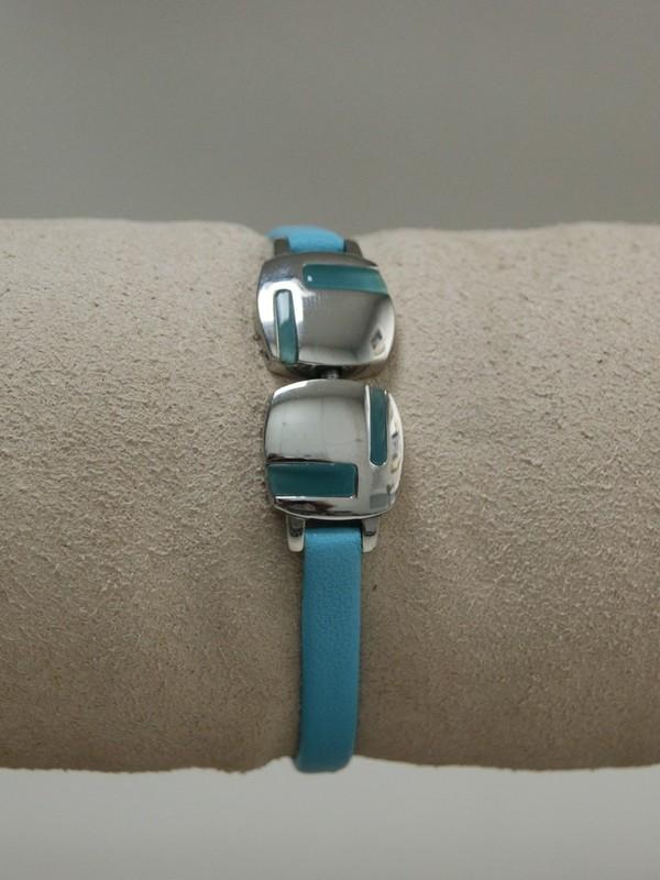 Blauwe leren armband