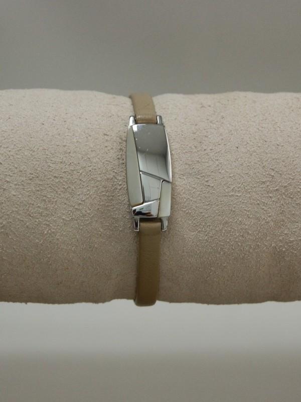 Dunne beige leren armband