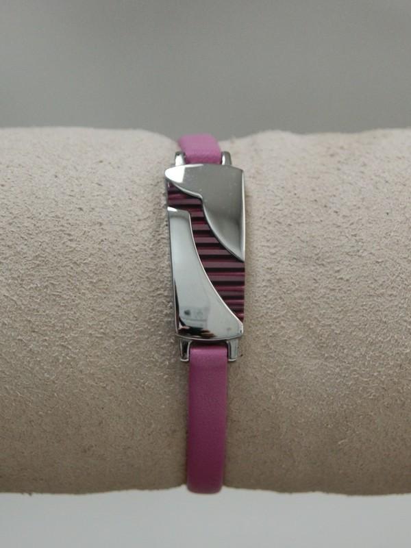 Dunne roze leren armband