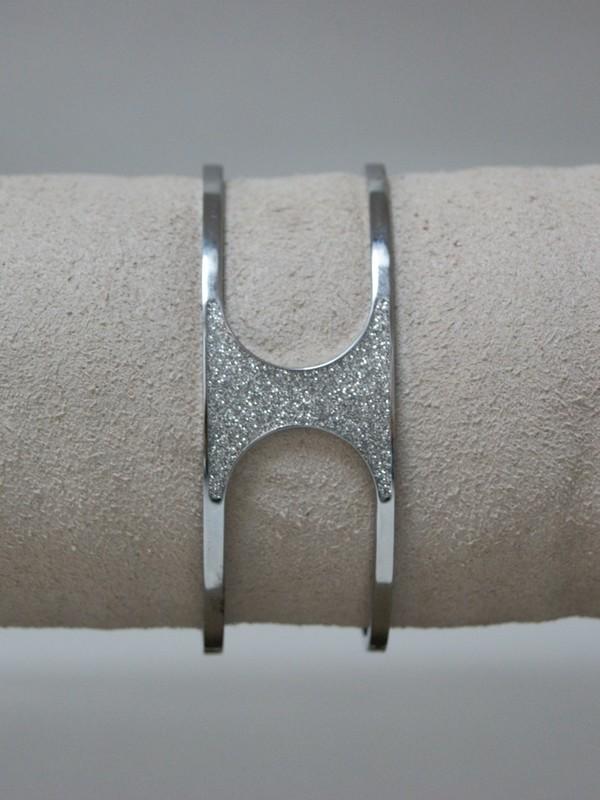 Zilveren klemarmband met glitter