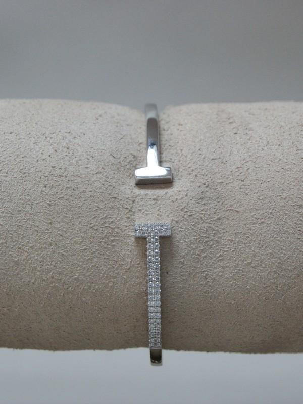 Zilveren klemarmband met kanaalgezette zirconia