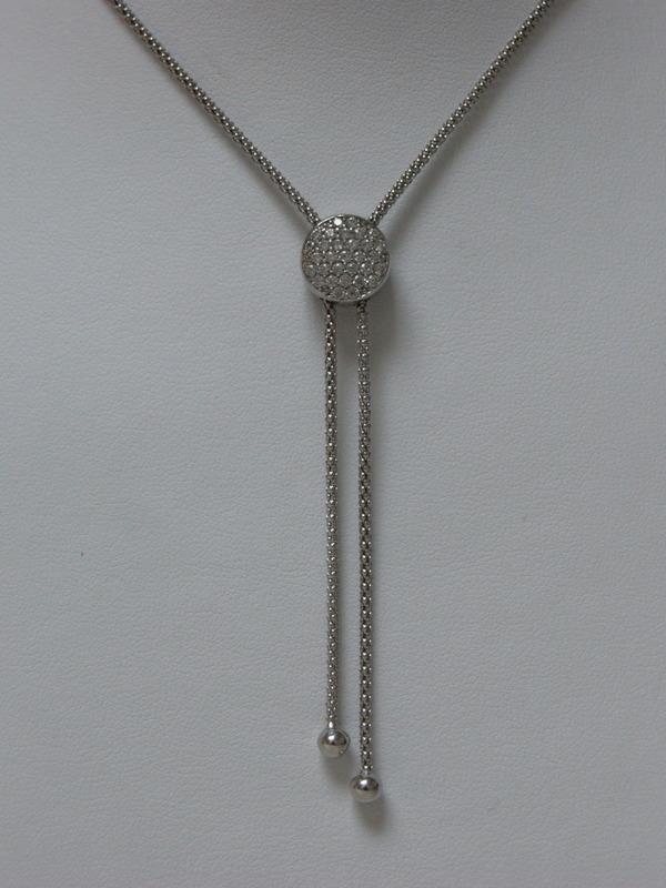 Verschuifbare zilveren collier met zirconia