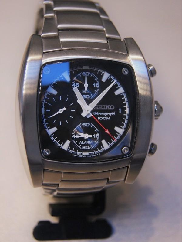 Seiko Quartz Chronograph Staal Bracelet Zwart SNAA97P1
