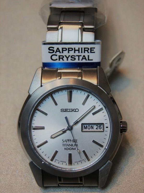 Seiko Quartz Sapphire Titanium Bracelet Wit SGG727P1