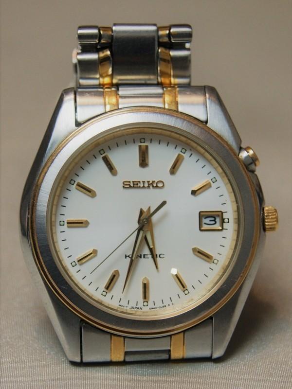 Seiko Kinetic SS Bicolour Bracelet Wit SKH484P1