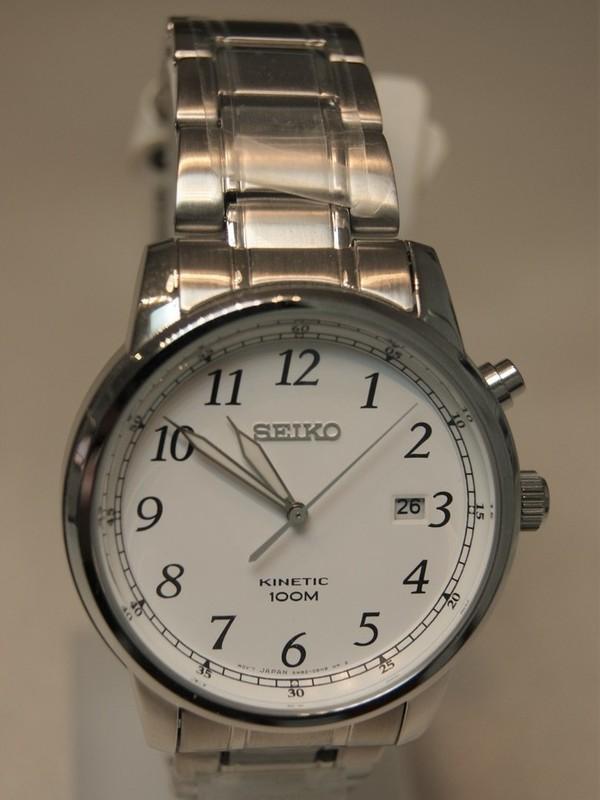 Seiko Kinetic SS Bracelet Wit SKA775P1