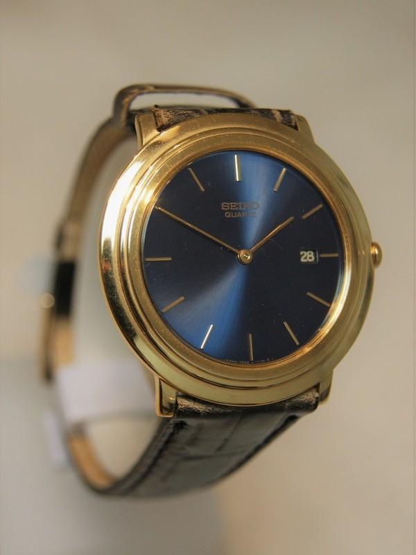 Seiko Quartz Doublé Zwart Leder Blauw SGK116J1
