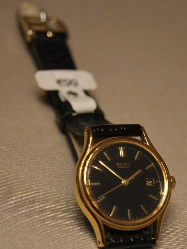 Seiko Quartz Doublé Zwart Leder Zwart SXE106P1