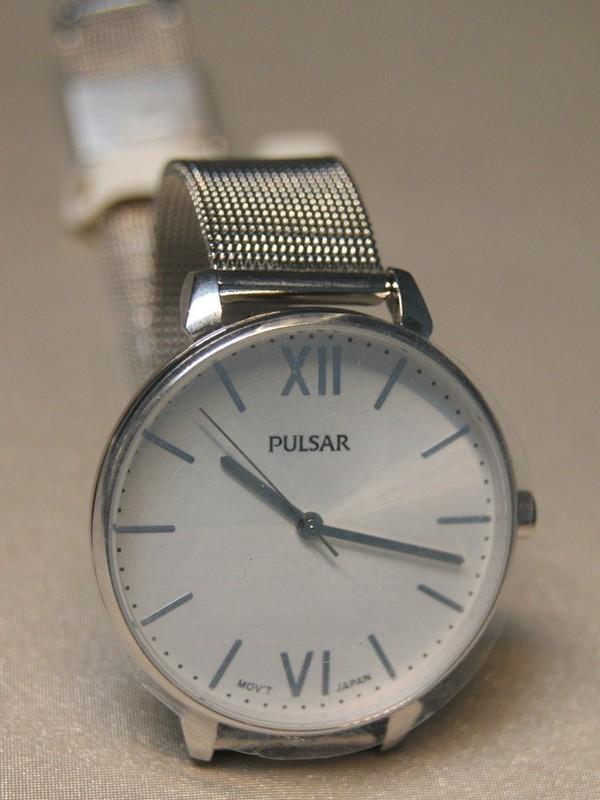 Pulsar Zilver SS Mesh Bracelet Wit PH8445X1