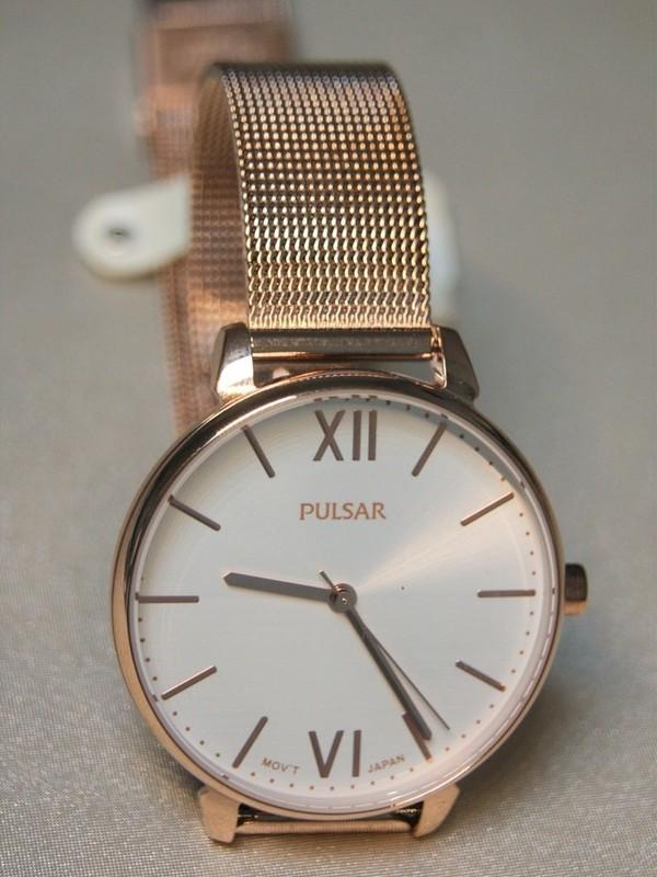 Pulsar Rosé SS Mesh Bracelet Wit PH8448X1