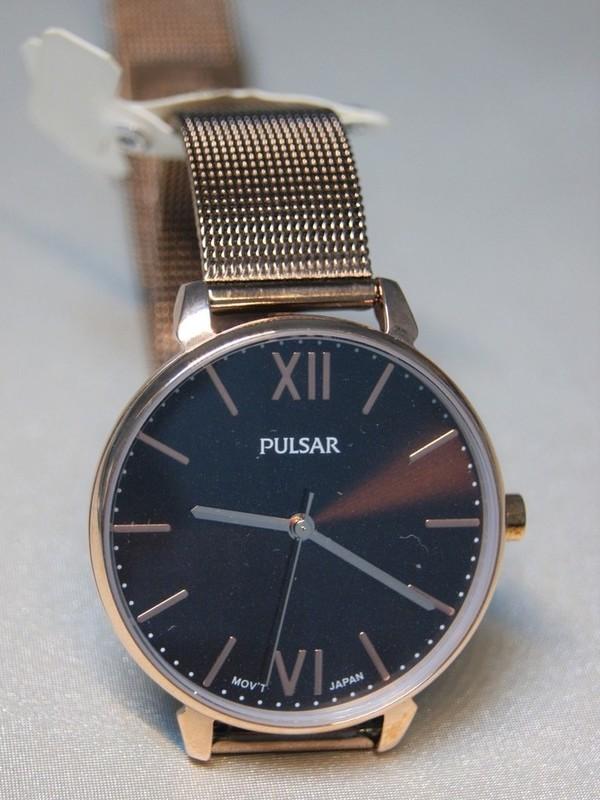 Pulsar Rosé SS Mesh Bracelet Bruin PH8450X1