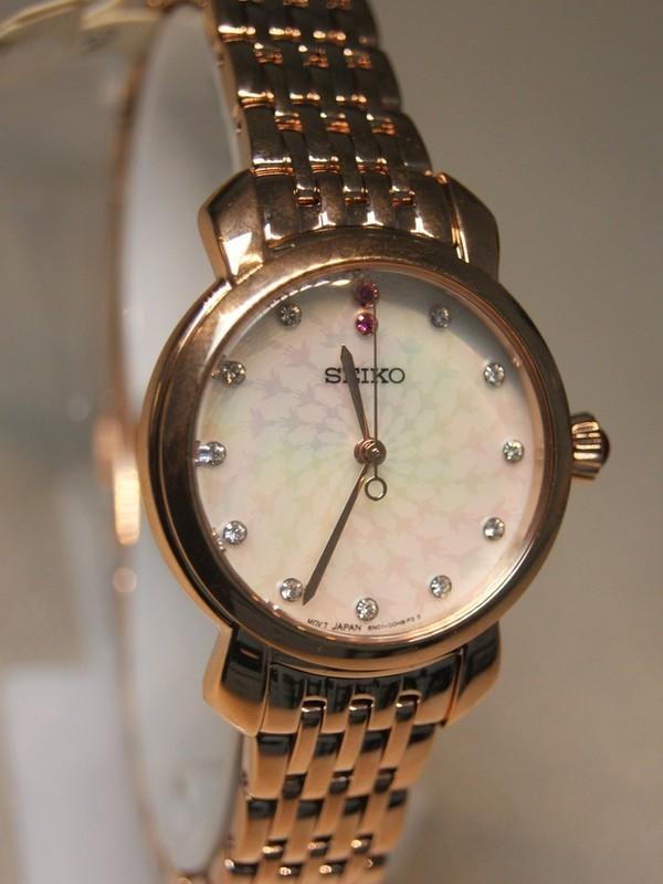 Seiko Quartz Rosé SS Bracelet Parelmoer SUR624P1