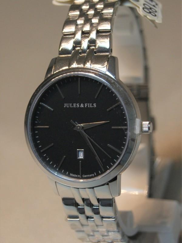 Jules&Fils Dauphine Quartz Sapphire Staal SS Bracelet Zwart