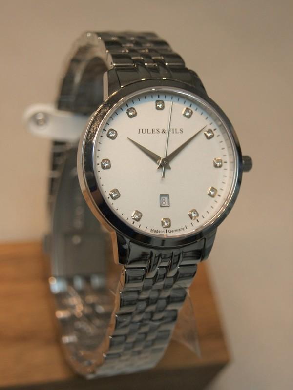 Jules&Fils Dauphine Diamond Quartz Sapphire Staal SS Bracelet Wit