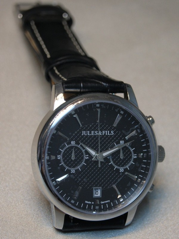 Jules&Fils Quartz Chronograph Sapphire Staal SS Zwart Leder Zwart