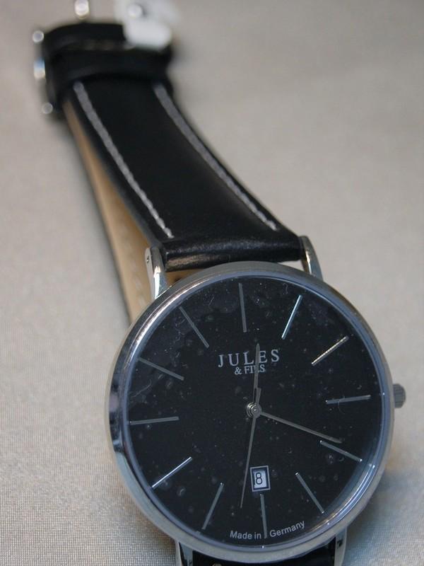 Jules&Fils Classic Quartz Sapphire Staal SS Zwart Leder Zwart