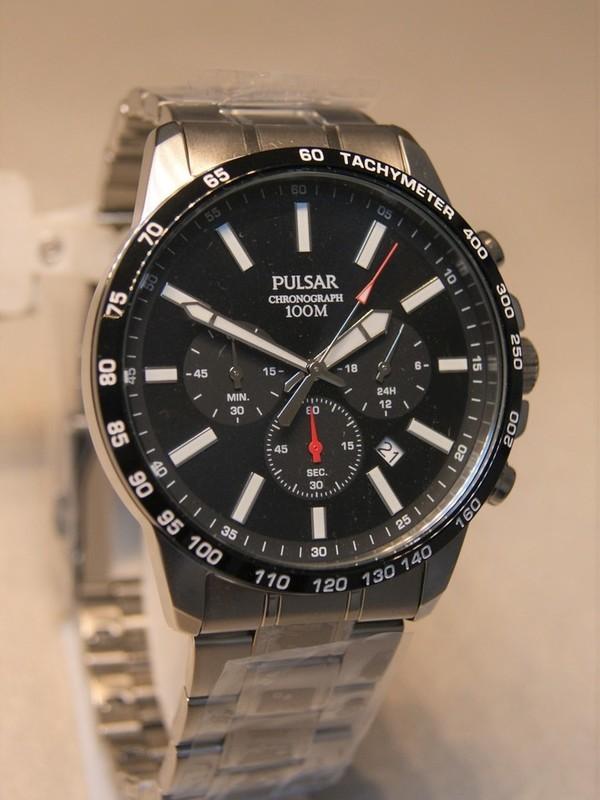 Pulsar Quartz Chronograph Staal SS Bracelet Zwart PT3997X1