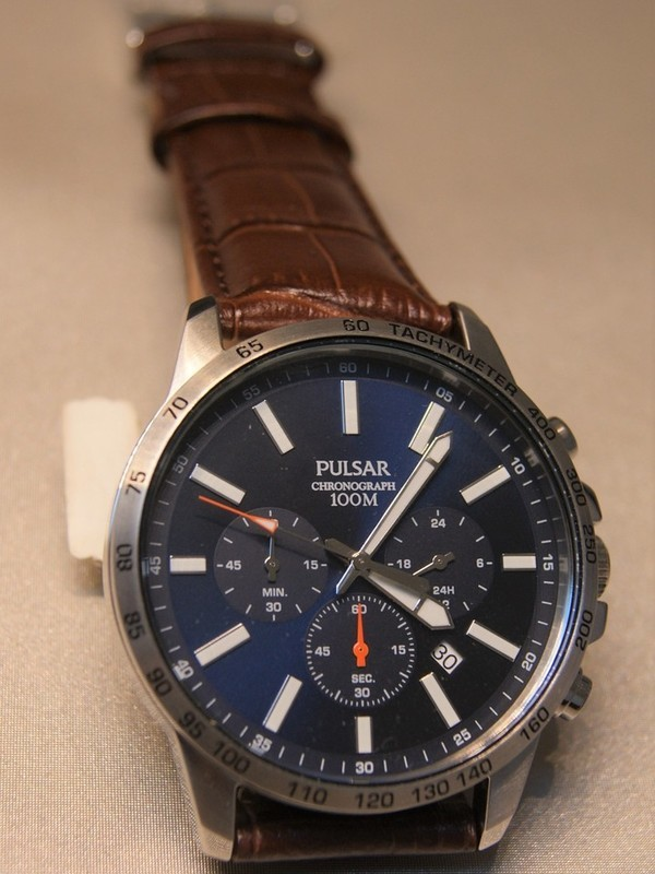 Pulsar Quartz Chronograph Staal SS Bruin Leder Blauw PT3999X1