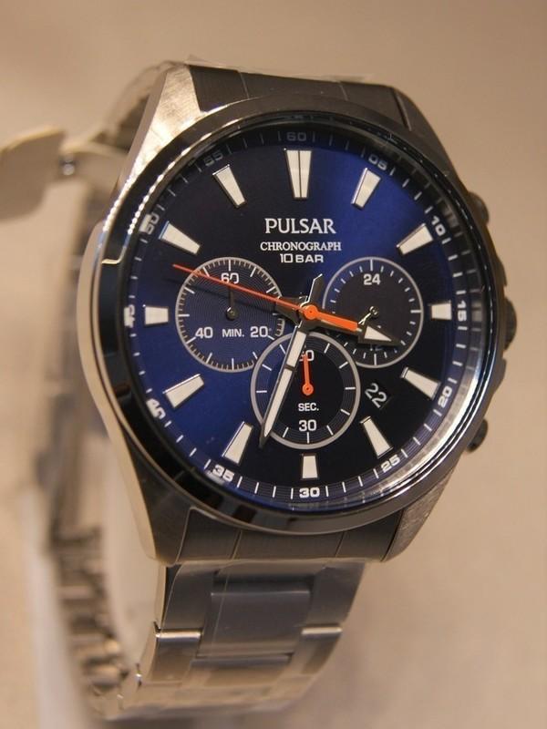 Pulsar Quartz Chronograph Staal SS Bracelet Blauw PT3A37X1