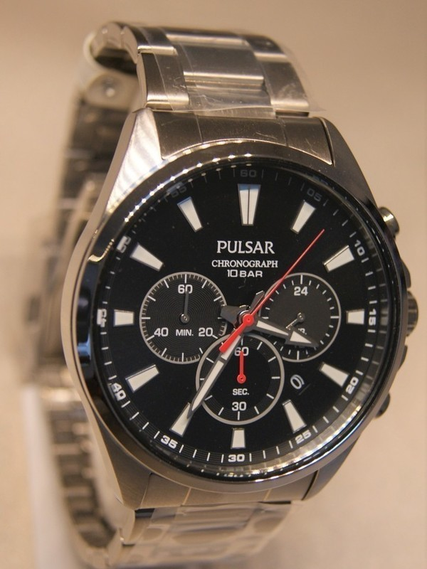 Pulsar Quartz Chronograph Staal SS Bracelet Zwart PT3A39X1