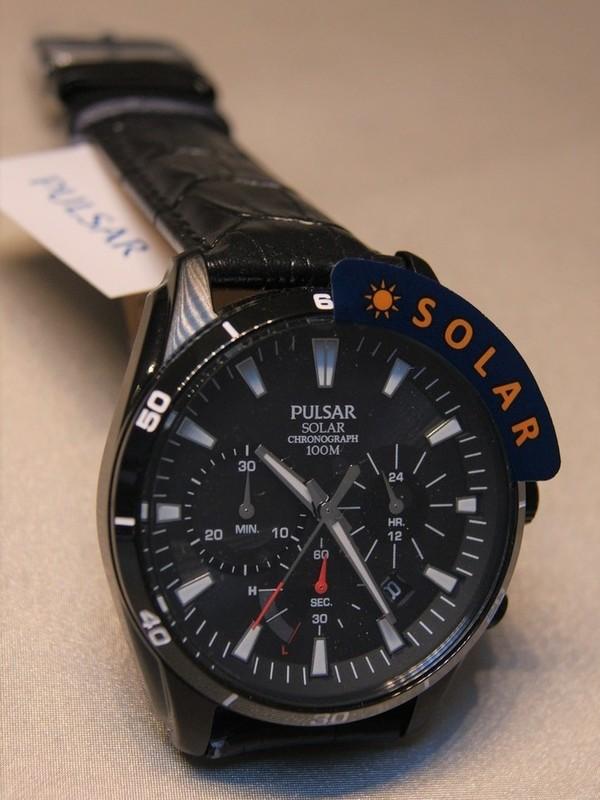 Pulsar Solar Chronograph Zwart SS Zwart Leder Zwart PZ5063X1